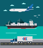 Flat design of cargo transportation sea air land Royalty Free Stock Photo