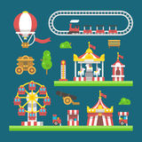 Flat design carnival amusement park Stock Image