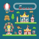 Flat design carnival amusement park. Illustration Stock Image