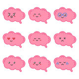 Flat design cartoon cute brain character with different facial expressions, emotions Royalty Free Stock Images