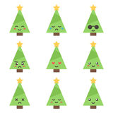 Flat design cartoon cute christmas tree character with different facial expressions Royalty Free Stock Photography