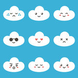 Flat design cartoon cute cloud character with different facial expressions, emotions. Set, collection of emoji on blue background.  Stock Image