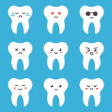 Flat design cartoon cute tooth character with different facial expressions, emotions Stock Photos