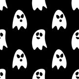 Flat design cartoon halloween ghosts seamless pattern background.  Stock Photography