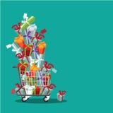 Flat design cartoon shopping cart stuffed with fun gifts Royalty Free Stock Image