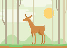 Flat design cartoon vector wild animal der lama Royalty Free Stock Images