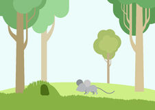 Flat design cartoon vector wild animals pets birds. Baby mouse and burrow flat design cartoon vector wild animals. Flat zoo nature children collection Royalty Free Illustration