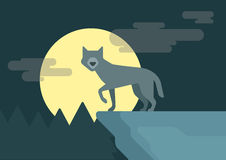 Flat design cartoon vector wild animals wolf rock roof full moon Royalty Free Stock Image