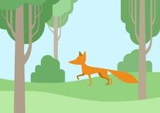 Flat design cartoon wild animals fox in the forest. Fox flat design cartoon wild animal in the forest. Flat zoo children collection Stock Illustration