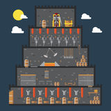 Flat design of castle dungeon internal Royalty Free Stock Photography