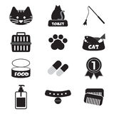 Flat Design Cat Black Icon Set Royalty Free Stock Photo