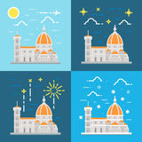 Flat design of cathedral of Florence Italy Royalty Free Stock Image