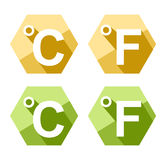 Flat design Celsius and Fahrenheit symbol icon set Stock Photo