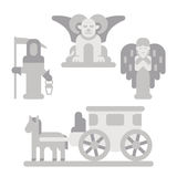Flat design cemetery statue set Royalty Free Stock Images