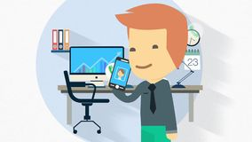 Flat design character illustration on full length suit clothed business man with  smart phone stock video footage