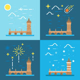 Flat design of Charles bridge Czech Stock Photography