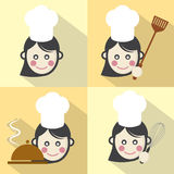 Flat Design Chef Icon With Long Shadow Effect Stock Image