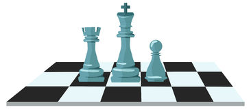 Flat design of chess figures. Flat design modern illustration concept of business strategy with chess figures on a chess board Royalty Free Stock Images