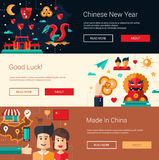 Flat design China banners set with icons, famous Chinese symbols Stock Photos