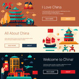 Flat design China travel banners set with famous Chinese symbols Royalty Free Stock Images