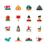 Flat design China travel icons, infographics elements with Chinese symbols Stock Photos