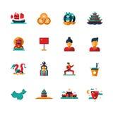 Flat design China travel icons, infographics elements with Chinese symbols Stock Photos