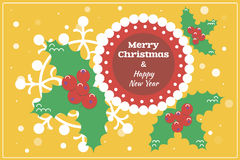 Flat Design Christmas Card / Background with Holly Stock Image