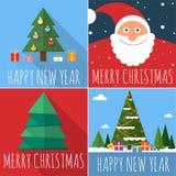 Flat design Christmas card set. Royalty Free Stock Image