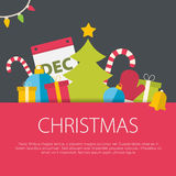 Flat design christmas concept. Royalty Free Stock Photography