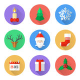 Flat design christmas icons set. Vector various christmas new year flat style color icons set with shadow Stock Photo