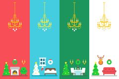 Flat design christmas interior decor set. Illustration Stock Images