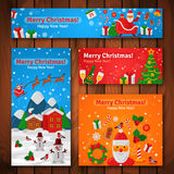 Flat Design Christmas and New Year Greeting Cards and Banners. Stock Images