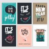 Flat design Christmas and New Year greeting cards. Set of hand drawn vector illustrations Stock Photos