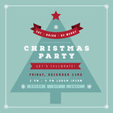 Flat design Christmas party invitation tree Royalty Free Stock Photo
