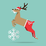 Flat design of Christmas reindeer in jump action. Cartoon Character. Royalty Free Stock Photo