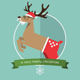 Flat design of Christmas reindeer in jump action. Cartoon Character. Stock Photos