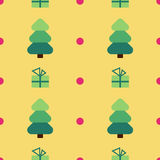 Flat design christmas tree, gift seamless pattern background. Royalty Free Stock Photography