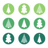 Flat design christmas tree set. Royalty Free Stock Photo
