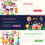 Flat design circus and carnival banners, headers set. Set of vector modern flat design circus and carnival website headers, banners set with icons and Stock Photo