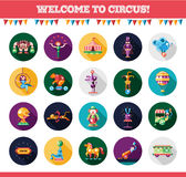 Flat design circus icons and infographics elements set Royalty Free Stock Photos