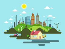 Flat Design City. Abstract Vector Town Stock Photography