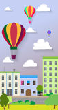 Flat design of the city street and air balloons. Vector Royalty Free Stock Photos