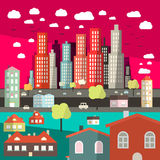 Flat Design City Vector. Illustration Royalty Free Stock Images
