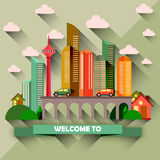 Flat design city vector illustration Stock Photo