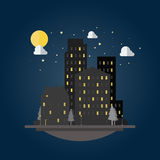 Flat design of cityscape at night Royalty Free Stock Photography