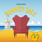 Flat design of classic chair on beach and sea background in furniture summer sale concept . Stock Image