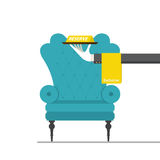 Flat design for classic chair with hand holding reserved sign. Royalty Free Stock Images