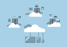 Flat design, cloud computing concept. Royalty Free Stock Photo