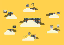 Flat design, cloud computing concept. Cloud sever, data storage service, big data and cloud technology Stock Photography