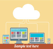 Flat design cloud computing with devices elements concept  Royalty Free Stock Images